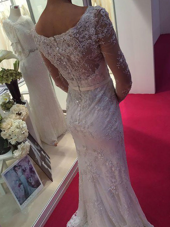 788cac38468 ... Long Sleeves Sheath Column Scoop Lace   Chiffon Wedding Dresses OW253
