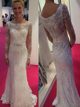 Long Sleeves Sheath/Column Scoop Lace & Chiffon Wedding Dresses OW253