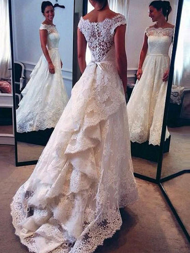 A-Line/Princess Scoop Ruched Back Court Train Sleeveless Lace Wedding Dresses OW256