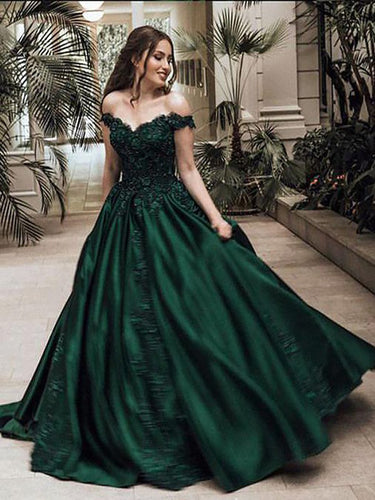 Green Ball Gown Off-the-Shoulder Sleeveless Floor-Length Lace Satin Evening Dresses, OP110
