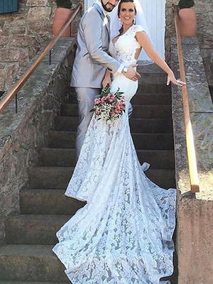 Trendy Mermaid V-neck Lace Trumpet Wedding Dresses Cheap Sale UK ...