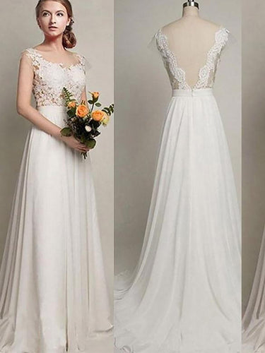 A-Line/Princess Scoop Sweep/Brush Train Chiffon V-Back Wedding Dresses OW260