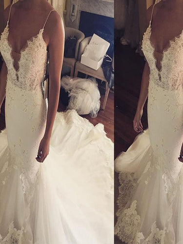 Lace Trumpet/Mermaid Spaghetti Straps Tulle Wedding Dresses OW258