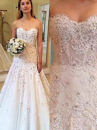 Cheap A-Line Sweetheart Sheath Lace Wedding Dresses OW264