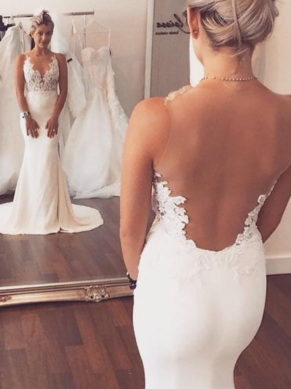 Sheath/Column Applique Scoop Illusion Back Satin Wedding Dresses OW262