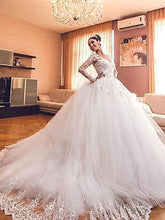 Luxurious Long Sleeves V-neck Tulle Ball Gown Wedding Dresses OW267