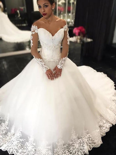 Off-Shoulder Long Sleeves Ball Gown Applique Tulle Wedding Dresses OW269