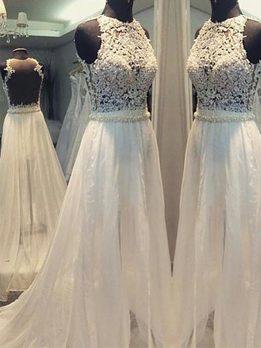 A-Line/Princess Scoop Beaded Chiffon Wedding Dresses With Applique OW301