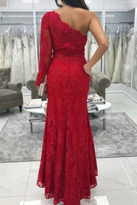 One Shoulder Long Sleeve Lace Mermaid Red Prom Dresses With Split PO319