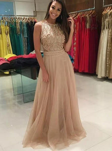 A-line Round Beaded Long Prom Dresses With See-Through Back PO320