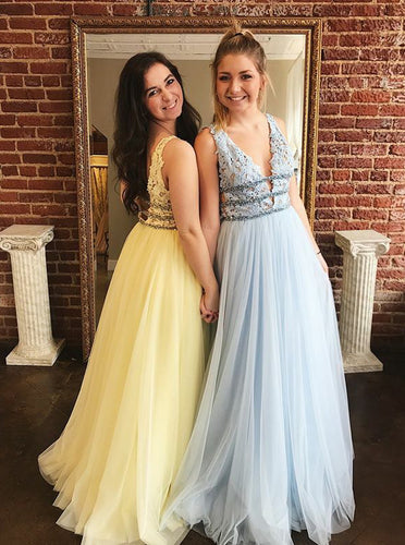 Long Lace Tulle Prom Dresses, A-line Graduation Dresses With Beading PO424