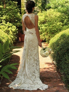 Sleeveless Lace V-neck Keyhole Gown, Sweep/Brush Train Sheath/Column Wedding Dresses OW120