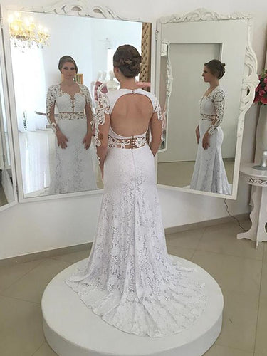 Long Sleeves Sheath/Column Lace Scoop Open Back Wedding Dresses OW271