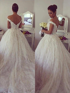 Off-the-Shoulder Lace Ball Gown Court Train Wedding Dresses OW273