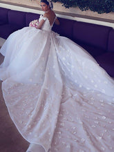 Off-Shoulder V-neck Satin Chiffon Ball Gown Chapel Train Wedding Dresses OW272