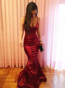 Sleek Mermaid Red Long Prom Dresses, Spaghetti Straps Evening Party Dresses PO143