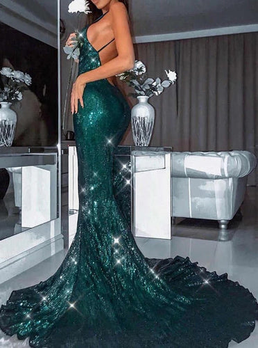 Sequined Mermaid Backless Prom Dresses Spaghetti Straps Evening Dresses PO141