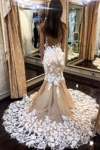 Sexy See Through Backless Tulle Mermaid Wedding Dresses With Appliques OW652