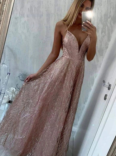 Sparkly Spaghetti Straps Long Prom Dresses Sequins Party Dresses PO167