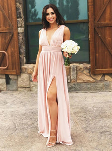 A Line V Neck Pearl Pink Chiffon Bridesmaid Dresses, Cheap Split Long Evening Dress OB399