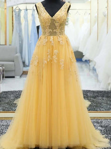 Yellow V-neck Tulle Long Prom Dresses, Appliques Evening Dress OP1021