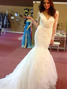 Long Sleeves Trumpet/Mermaid V-neck Beading Tulle Wedding Dresses OW277