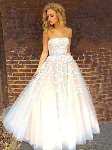 Strapless Appliques Long Prom Wedding Dress with Beading Waist OW520