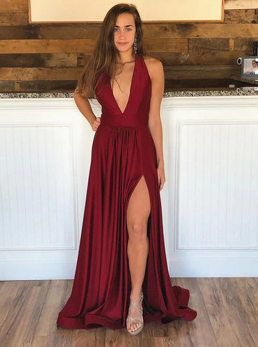 Burgundy V Neck Long Prom Dresses, Backless Formal Evening Dresses PO415