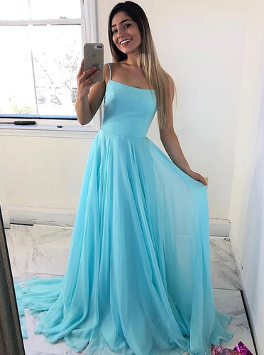 Simple Spaghetti Straps Ice Blue Chiffon Long Prom Dresses PO138