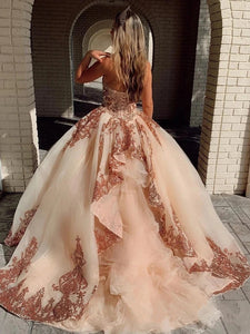 Sweetheart Ball Gown Prom Dress with Sequins Beading, Puffy Party Dresses PO410