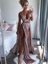 Rose Gold Sequins Long Prom Dresses, Sexy Evening Dresses With Split PO131
