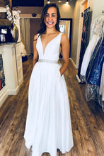 White V Neck Long Prom Dresses, Long Formal Evening Dresses With Pockets PO398