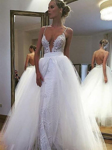 A-Line/Princess Lace Spaghetti Straps Deep V-neck Backless Tulle Wedding Dresses OW302