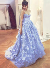 Sweetheart Lace Appliques Prom Dresses Evening Gowns With Bowknot PO118