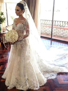 Lace Long Sleeves A-Line/Princess Bateau Tulle Wedding Dresses OW275