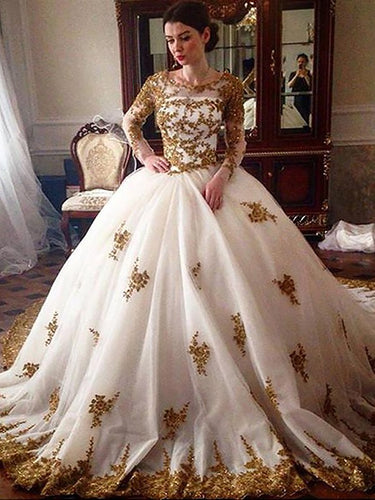 Long Sleeves Scoop Gold Applique Ball Gown Tulle Wedding Dresses OW274