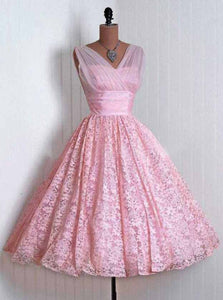Elegant Pink Short Prom Dresses A-line Lace Homecoming Dress OM372