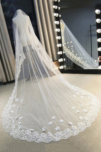 One-tier Chapel Trailing Tulle Bridal Veils With Lace Flower OV21