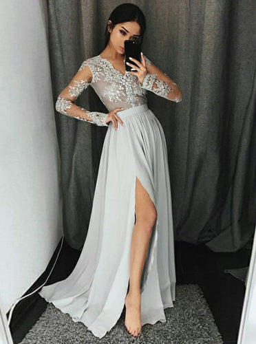 A-Line V-Neck Appliques Long Sleeves Prom Dress With Slit OP712