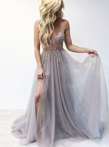 Spaghetti Straps Beaded Bodice Long Prom Dress with Slit OP710