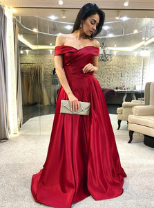 Elegant Off-the-Shoulder Burgundy Satin Prom Dress with Ruched OP737