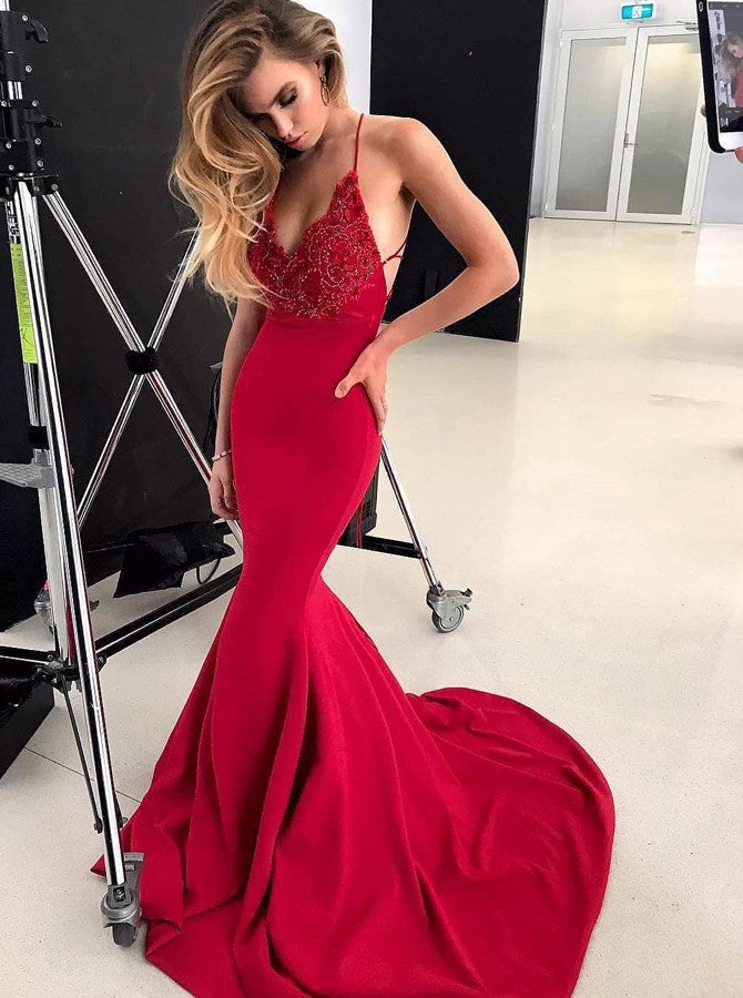 Sexy Spaghetti Straps Evening Gown Red Mermaid Prom Dress with Beading OP702