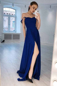 A-Line Straps Royal Blue Simple Long Prom Dress with Slit OP711