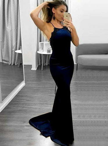 Spaghetti Straps Navy Blue Mermaid Prom Dress with Lace Edge OP706