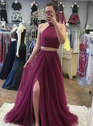 A-line High Neck Tulle Two Piece Prom Dress with Beading OP709