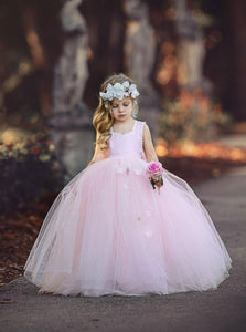 Princess Light Pink Ball Gown Tulle Flower Girl Dresses OF124