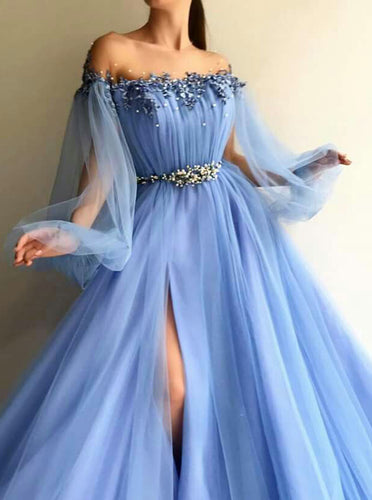 2019 Blue Puff Long Sleeves Prom Dress Beading Applique Split Evening Dress OP376