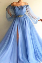 Blue Puff Long Sleeves Prom Dress Beading Applique Split Evening Dress OP376