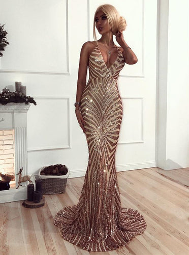 Glitter Mermaid Sequins Long Prom Dress, Backless Evening Dress OP294