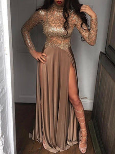 2019 Sheer Sequins Long Sleeves Prom Dress Sexy High Slits Party Dress OP391